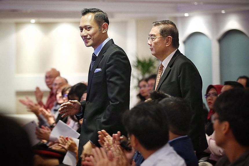 Mr Agus Harimurti Yudhoyono with S. Rajaratnam School of International Studies executive deputy chairman Ong Keng Yong ahead of delivering his lecture yesterday. The 39-year-old son of Indonesia's former president Susilo Bambang Yudhoyono is tipped a