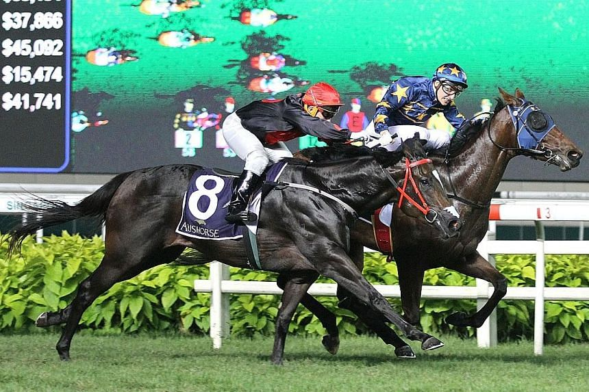 French jockey Ryan Curatolo steering the $12 favourite Lim's Lightning to beat $151 outsider Galvarino (No. 8) by a short head in the $325,000 Group 2 Aushorse Golden Horseshoe over 1,200m on turf at Kranji last night.