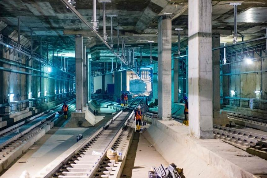 Engineers and workers in a tunnel of Jakarta's MRT construction project on June 7, 2018.