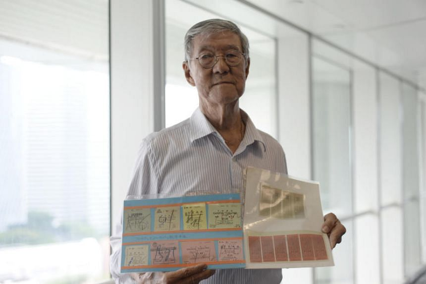 Mr Sim Soo Tee with his collection of old bus tickets, which he donated to the National Archives of Singapore.