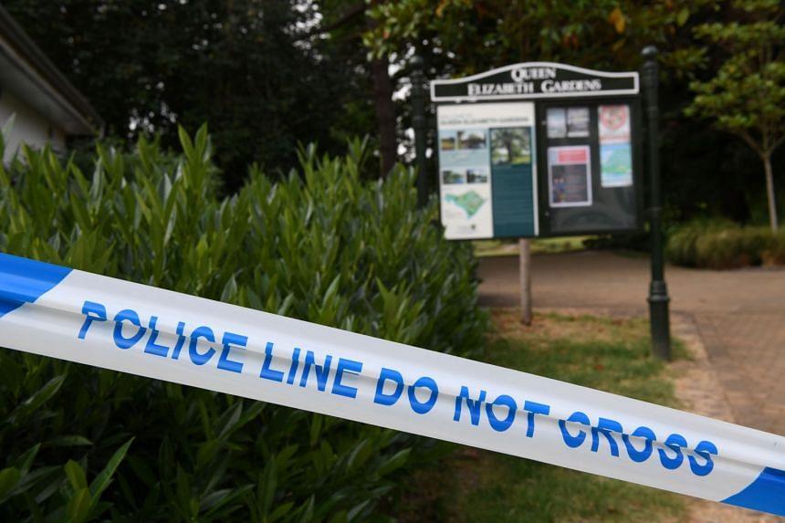 A police cordon in place at Queen Elizabeth Gardens in Salisbury, England.