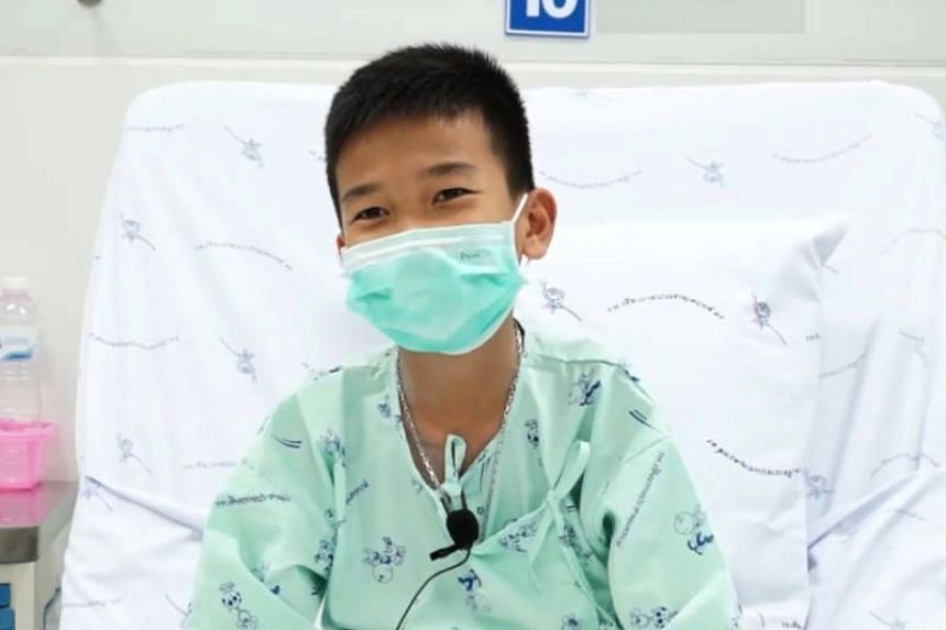One of the 12 rescued youth football team members, Chanin Vibulrungruang, speaking from his hospital bed via video clip on July 14, 2018.