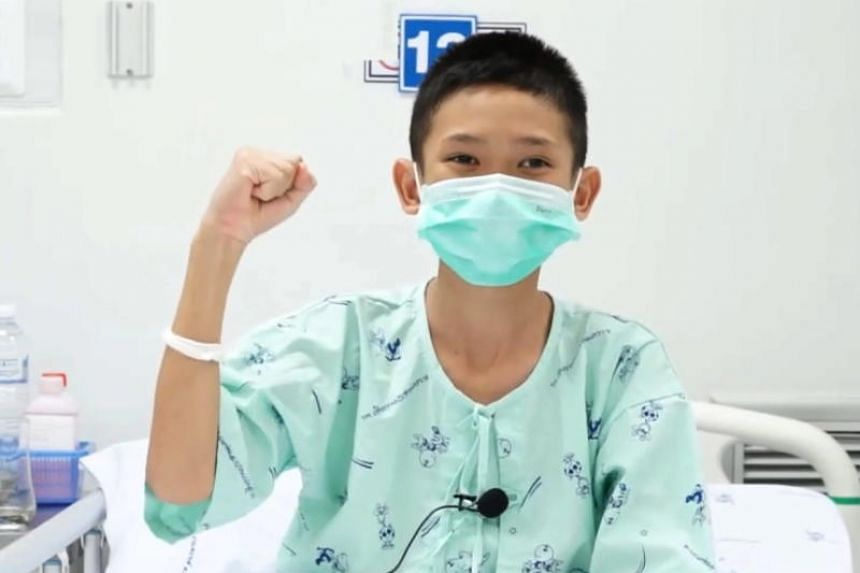 One of the 12 rescued youth football team members, Mongkol Booneiam, speaking from his hospital bed via video clip on July 14, 2018.
