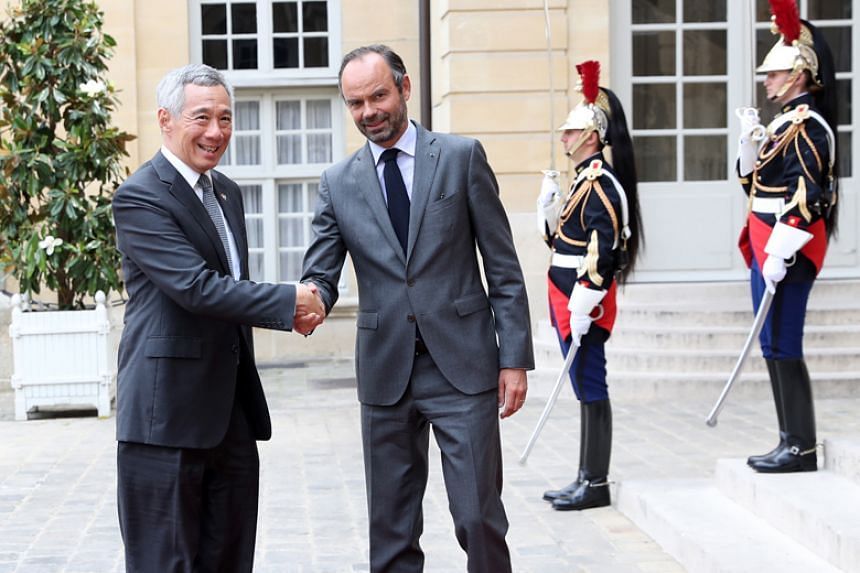 Prime Minister Lee Hsien Loong meets French Prime Minister Edouard Philippe in Paris on July 13, 2018.