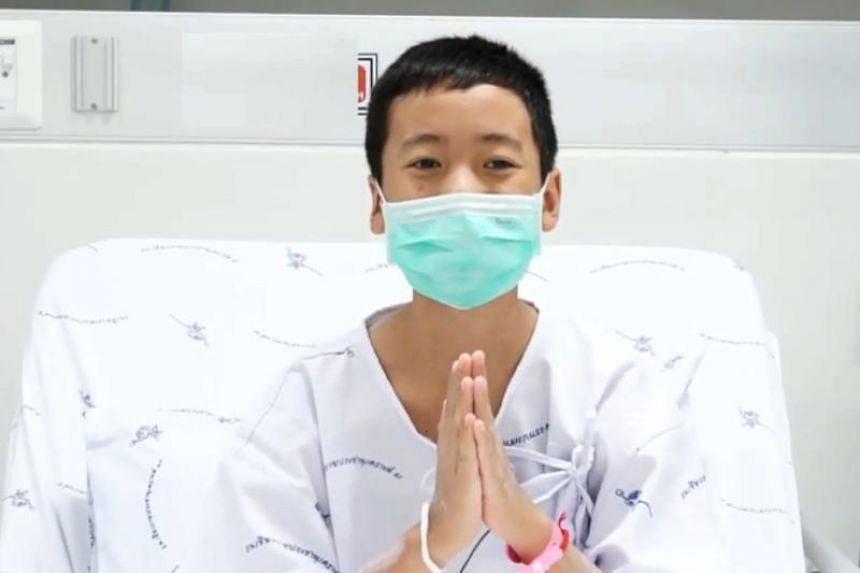 One of the 12 rescued youth football team members, Somepong Jaiwong, speaking from his hospital bed via video clip on July 14, 2018.
