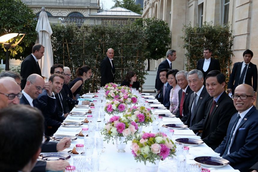 Prime Minister Lee Hsien Loong at the dinner banquet hosted by French President Emmanuel Macron on July 13, 2018.
