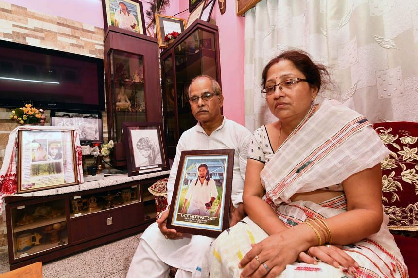 Gopal Chandra Das (left) and Radhika Das, parents of lynching victim Nilotpal Das, speaking to journalists at their residence in Guwahati on July 9, 2018.