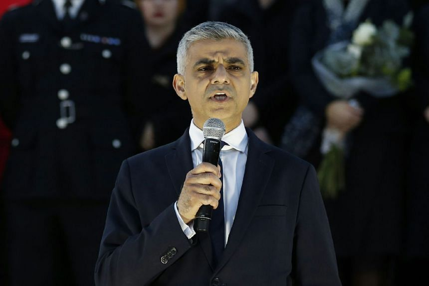 Mayor of London Sadiq Khan speaking during a vigil in Trafalgar Square in central London, on March 23, 2017. He has been attacked by US President Donald Trump, who accused him of doing a terrible job in preventing terrorism.