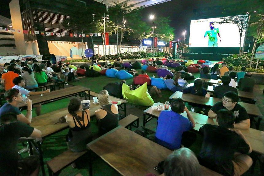 Singapore Sports Hub's live screening of the World Cup opening match on a giant 66 sq m screen at OCBC Square on June 14, 2018.