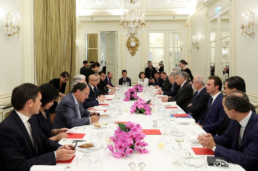 Prime Minister Lee Hsien Loong attends a lunch with French industry leaders on July 13, 2018.