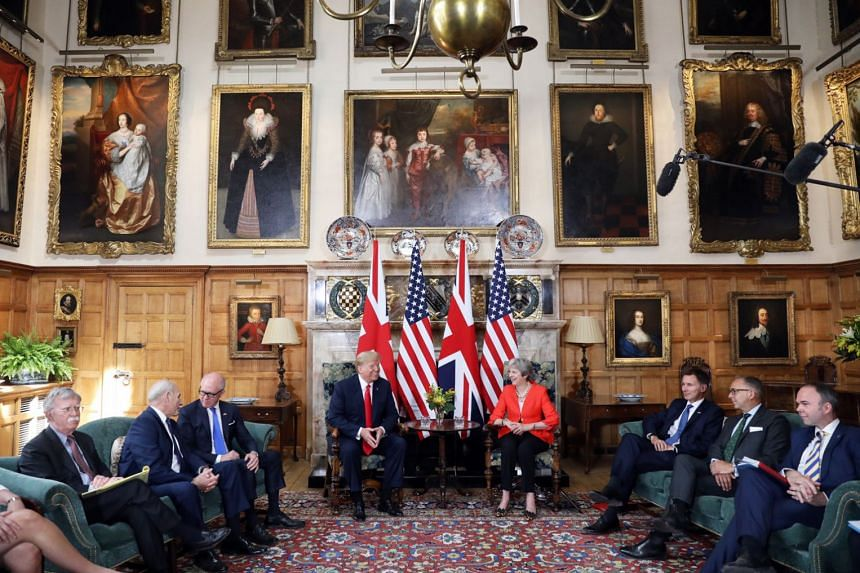 US President Donald Trump and British Prime Minister Theresa May at the start of their bilateral meetings yesterday at Chequers, the official country residence of the Prime Minister. Among those present were US National Security Adviser John Bolton (