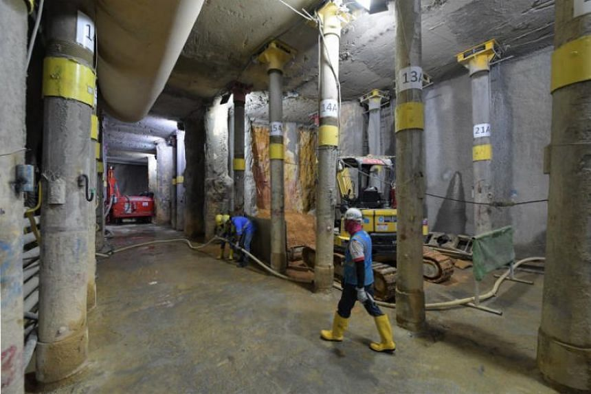 The Thomson-East Coast Line (TEL) Orchard MRT station work site on July 13, 2018.