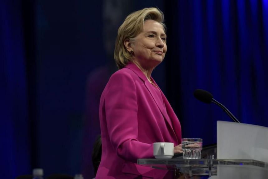Former Secretary of State Hillary Clinton speaks to the audience at the annual convention of the American Federation of Teachers Friday, at the David L. Lawrence Convention Center in Pittsburgh, Pennsylvania, on July 13, 2018.
