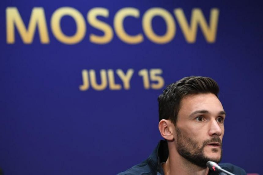 French captain and goalkeeper Hugo Lloris attends a press conference in Moscow, Russia, on July 14, 2018. France will face Croatia in the 2018 World Cup final on July 15, 2018.