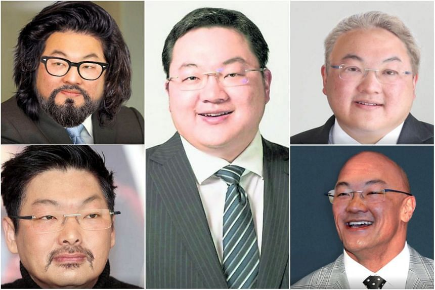 An artist's impression of some possible surgically altered looks of fugitive financier Low Taek Jho, better known as Jho Low, based on a photo of him (centre) in 2011. Investigators believe Low has been travelling using multiple passports.