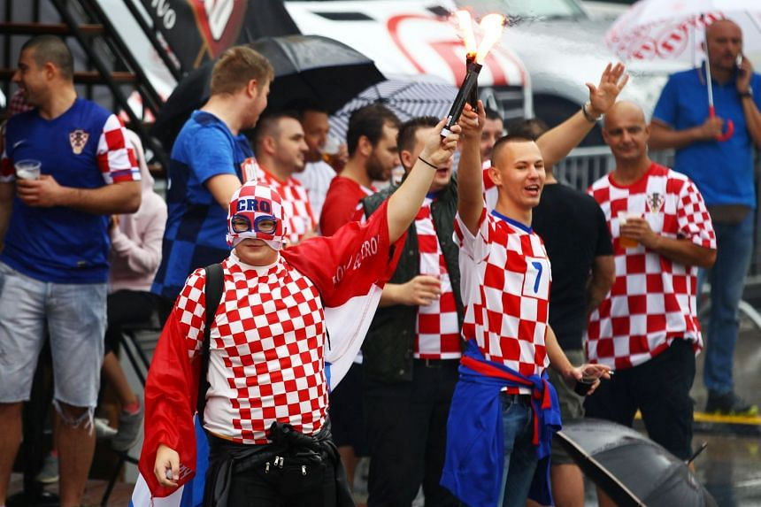 Croatian fans celebrating in Zagreb ahead of the country's World Cup final clash against France, on July 15, 2018.