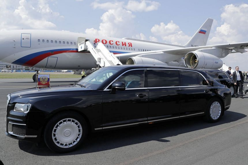 Russian President Vladimir Putin's Aurus Senat limousine is seen during a welcoming ceremony at Helsinki airport, Finland, on July 16, 2018.