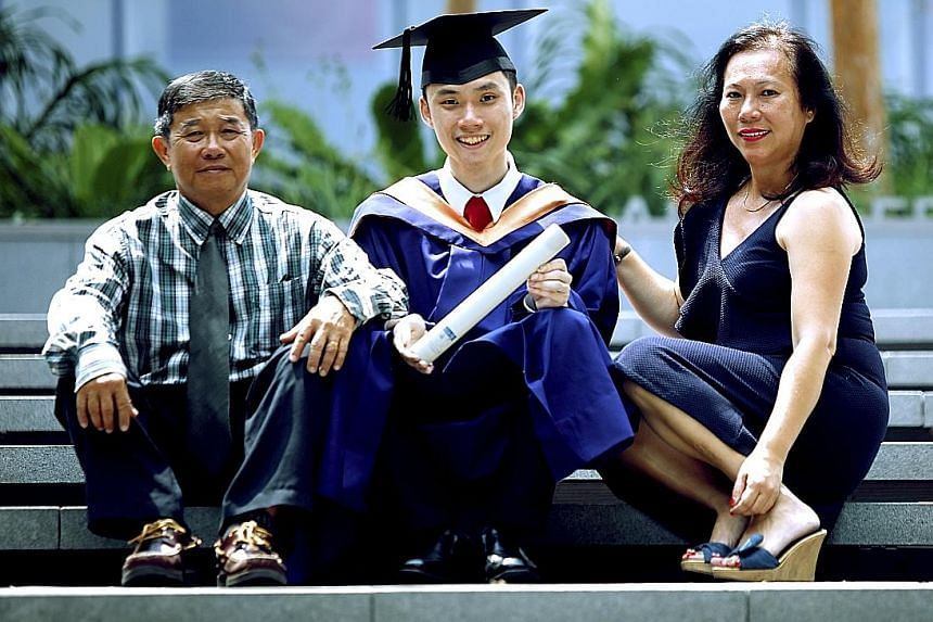 Mr Nicholas Ooi (seated) and NUS mates (from left) Janelle Lee, Han Lynn and Joshua Foong started social enterprise Bantu, which uses technology to manage volunteers in the social service sector. Mr Nicholas Ooi, who earned an honours degree in compu