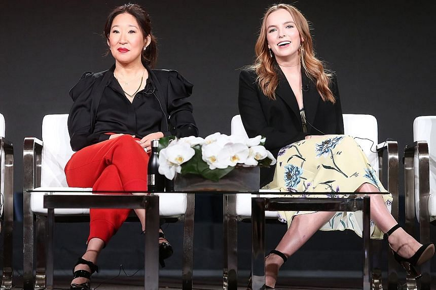 The BBC America series Killing Eve stars Sandra Oh (far left) as an intelligence officer hunting down a hitwoman played by Jodie Comer.