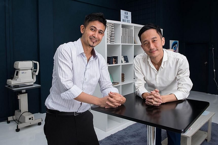 Mr Javad Namazie (far left) and Mr Darryn Tan, co-founders of contact lens company Two of a Kind. It is the first direct-to-consumer brand of contact lenses in Singapore, cutting out the middleman, and customers can opt for a subscription-based model