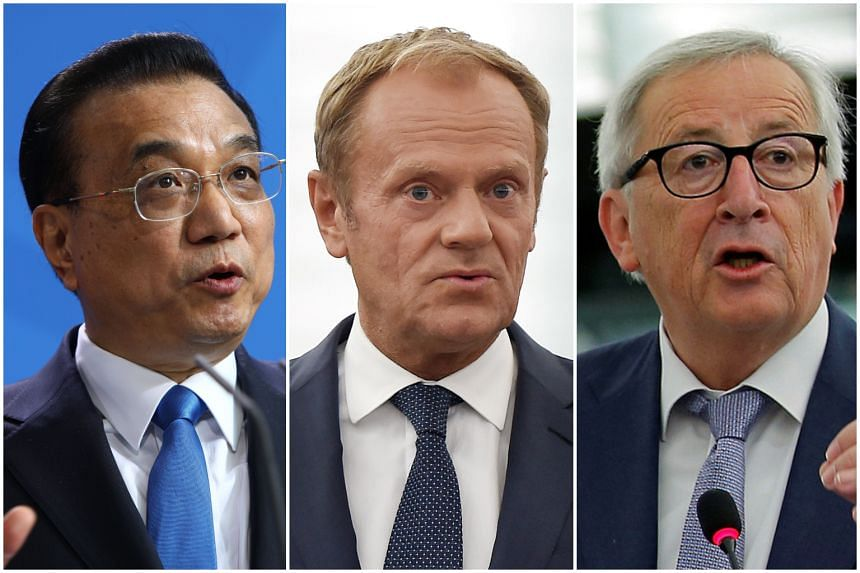 Chinese Premier Li Keqiang will host European Council president Donald Tusk and European Commission president Jean-Claude Juncker (right) in Beijing to produce a modest communique that affirms both sides to the multilateral trading system.