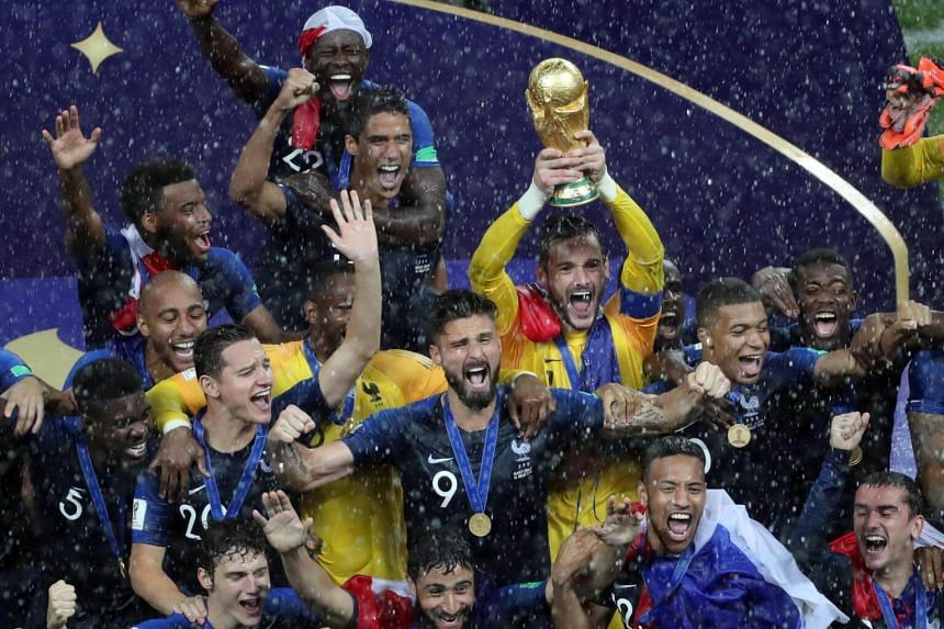 The overjoyed players of France celebrating after beating Croatia and winning the FIFA World Cup 2018 final between France and Croatia, on 15 July 2018.