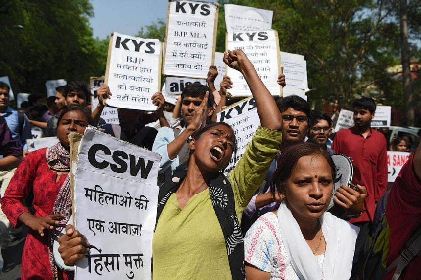 File photo showing activists angered by recent rapes in Uttar Pradesh state, New Delhi. The number of reported rape cases in India have risen by 60 per cent since 2012 to around 40,000 in 2016.