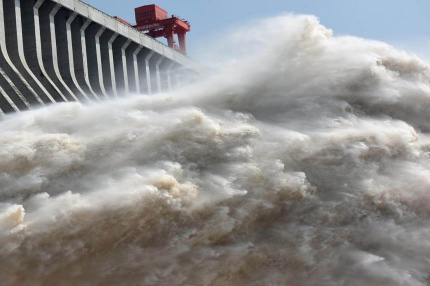 The Three Gorges Dam on the Yangtze River discharging water on July 15, 2018, to lower the water level in the reservoir, following heavy rain and floods across the country.