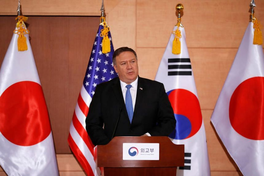 US Secretary of State Mike Pompeo addresses a news conference at the Foreign Ministry in Seoul, South Korea, on June 14, 2018.