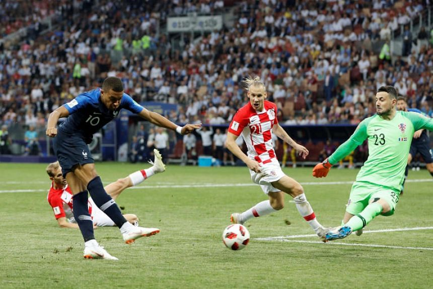 France's Kylian Mbappe shoots at goal at the Luzhniki Stadium, Moscow, Russia, on July 15, 2018.