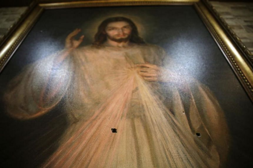 A view of an image of Jesus which was hit by bullets in the Divine Mercy chapel, in Managua, Nicaragua on 15 Jul, 2018. Two students were killed when pro government paramilitary groups attacked a group of protesters who were seeking refuge inside the