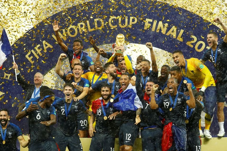 The French team celebrate winning the World Cup for the second time – a day after France marked its National Day and on the 20th anniversary of its maiden World Cup triumph.