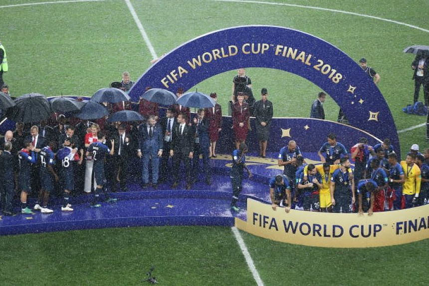 Players of France receiving their medals after winning their Fifa World Cup 2018 final against Croatia in Moscow on July 15, 2018.