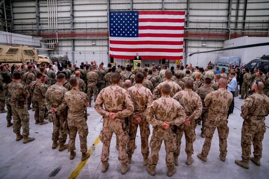 Secretary of State Mike Pompeo meets with coalition forces at Bagram Air Base, Afghanistan, on July 9, 2018.