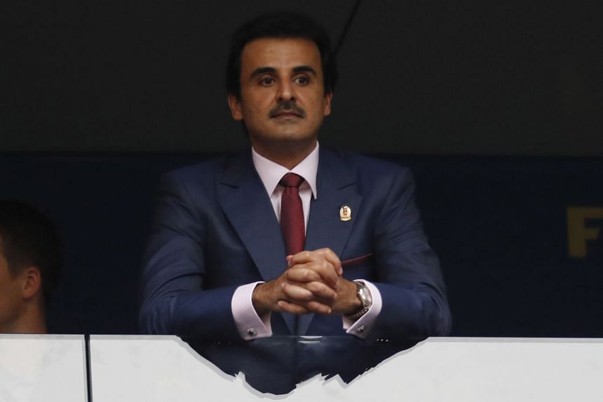 The Emir of Qatar Sheikh Tamim bin Hamad Al Thani during the FIFA World Cup 2018 final, on July 15, 2018. He vowed that his country will apply all its efforts to make the next World Cup a success.