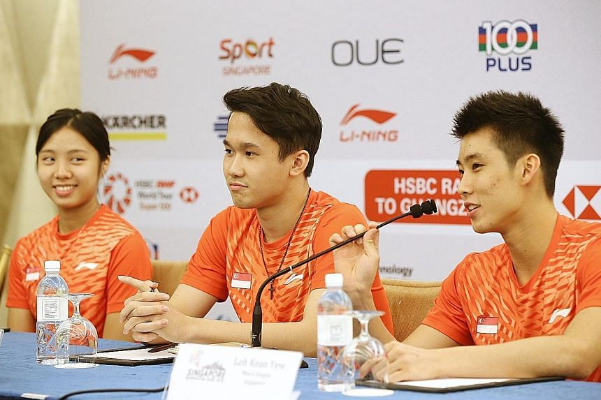 From left: Women's singles player Yeo Jia Min and men's singles players Ryan Ng and Loh Kean Yew are raring to prove themselves at the Singapore Open, which is the last of a packed four-week schedule.