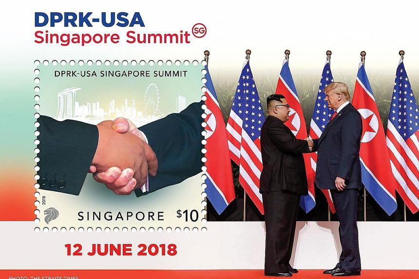 The collector's sheet, which will be launched on Friday, features a photo of the handshake between North Korean leader Kim Jong Un and US President Donald Trump taken by Straits Times photojournalist Kevin Lim in Capella Singapore's courtyard.