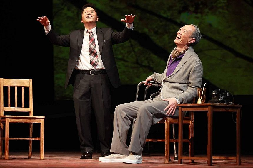 Taiwan-based Godot Theatre Company's Mandarin stage adaptation of Tuesdays With Morrie stars Pu Hsueh-liang (left) and King Shih-chieh.