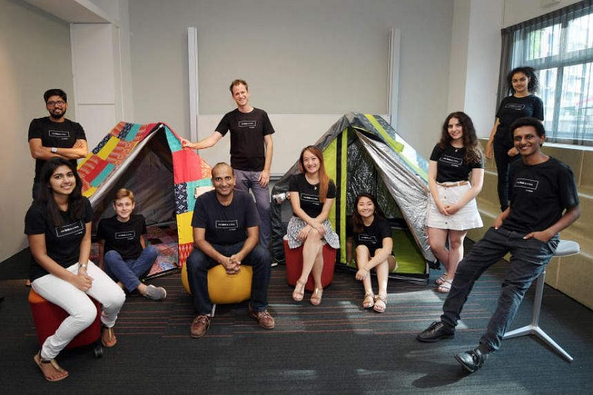 BillionBricks' co-founder and CEO Prasoon Kumar with his team, and the weatherHYDE tents.