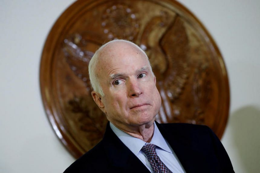 Senator John McCain looks on at a press conference about the National Defense Authorization Act in Washington, US, on Oct 25, 2017.