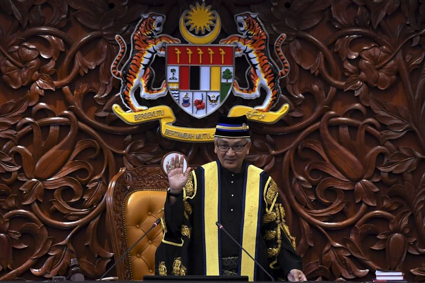 Retired judge Mohamad Ariff Md Yusof was being sworn in as Speaker during the first sitting of Malaysia's Parliament since the May 9 election.