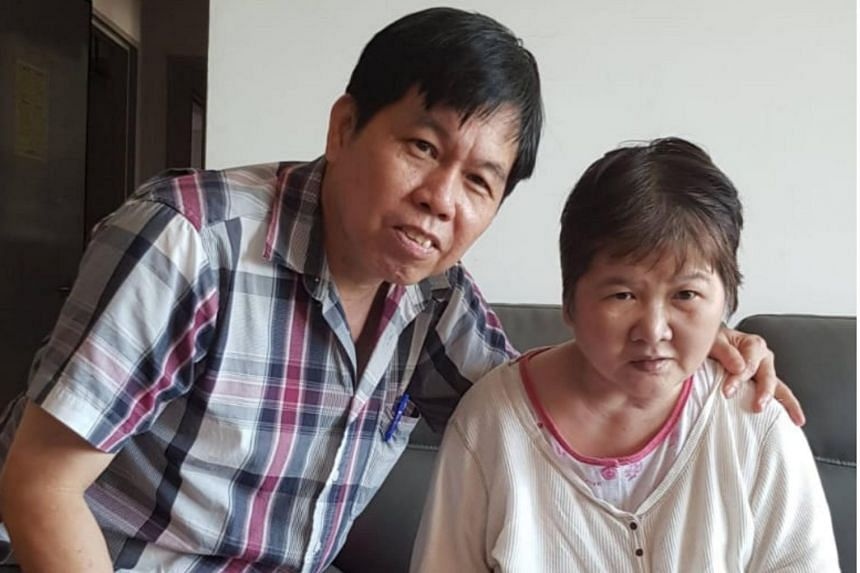 Madam Ang Liu Kiow and her husband Leong Loon Wah celebrating her birthday at their home on June 28 this year.