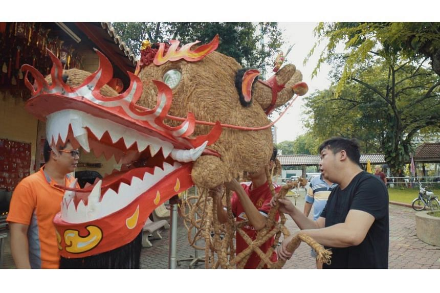 Decorated from head to tail with over 4,000 joss sticks, the fire dragon of Mun San Fook Tuck Chee would be engulfed in flames by the end of the dragon dance.