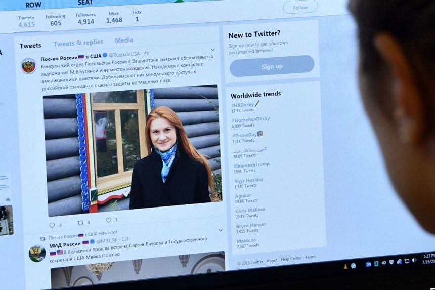 An editor looks at the Twitter feed of the Embassy of the Russian Federation to the US with a post about the arrest of Russian woman Mariia Butina, in Hollywood, California, on July 16, 2018.
