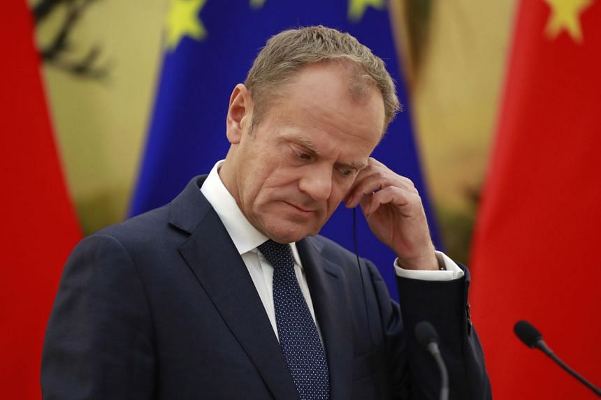 European Union (EU) Council President Donald Tusk at a press conference at the 20th European Union EU-China Summit, where the EU urged global trade cooperation and warned against trade wars. He arrives in Japan next to to sign the single market's big