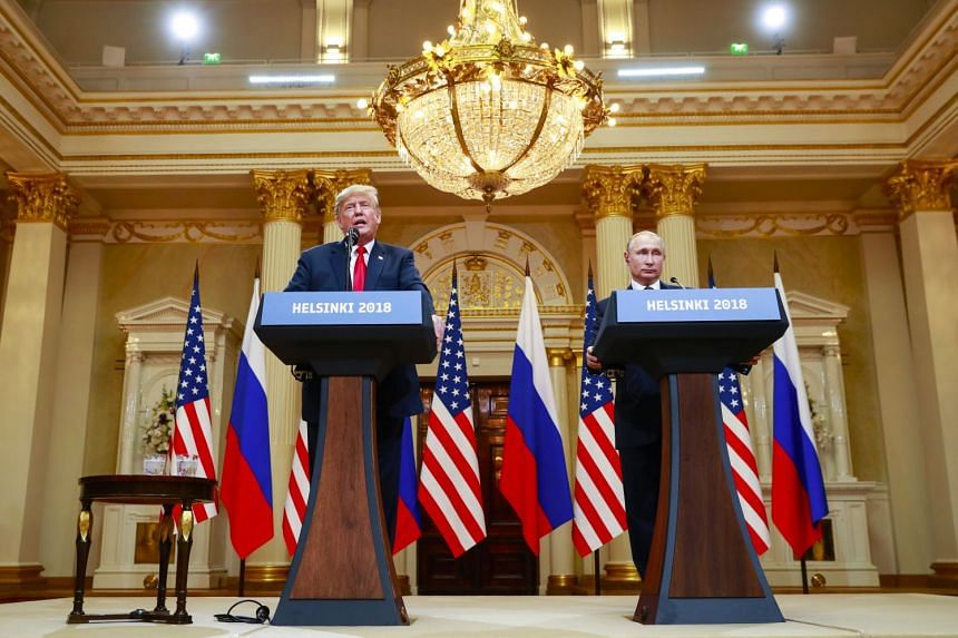 US President Donald Trump and Russian President Vladimir Putin of Russia during a joint news conference at the Presidential Palace in Helsinki, Finland, on July 16, 2018.
