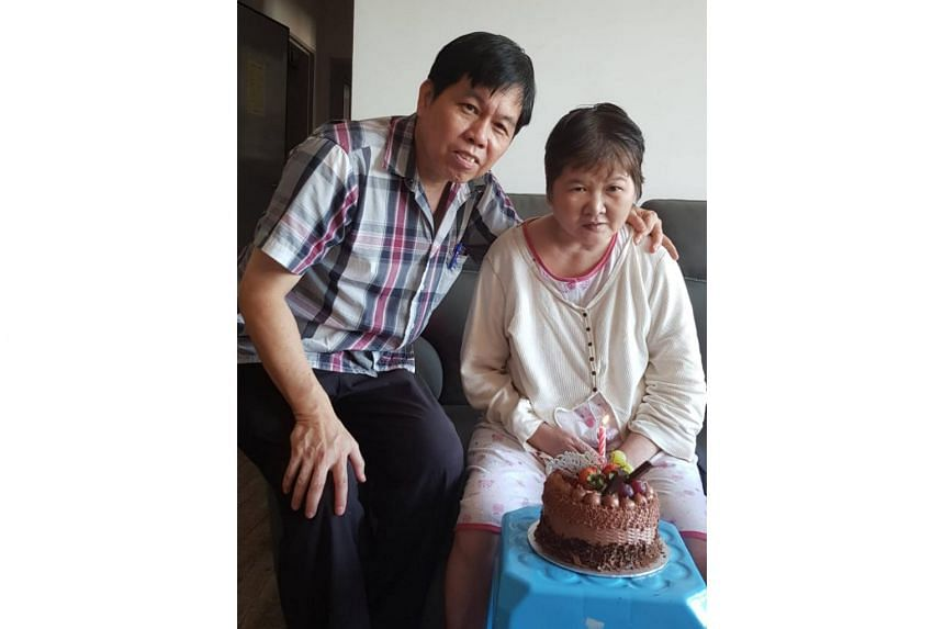 Madam Ang Liu Kiow and her husband Leong Loon Wah celebrating her birthday at their home on June 28, 2018.