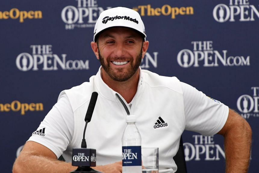 Dustin Johnson gives a press conference prior to the British Open.