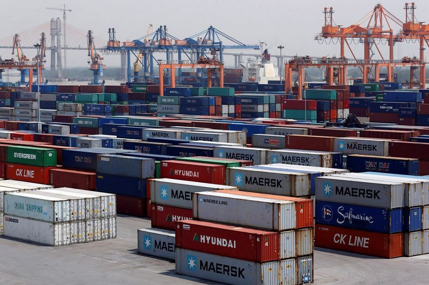 Shipping containers at a port in Hai Phong city, Vietnam, on July 12, 2018.