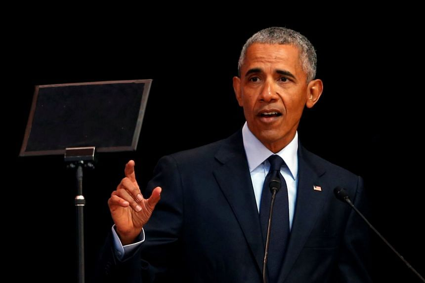 Obama speaking during the annual Mandela Lecture to commemorate Mandela Day, in Johannesburg.